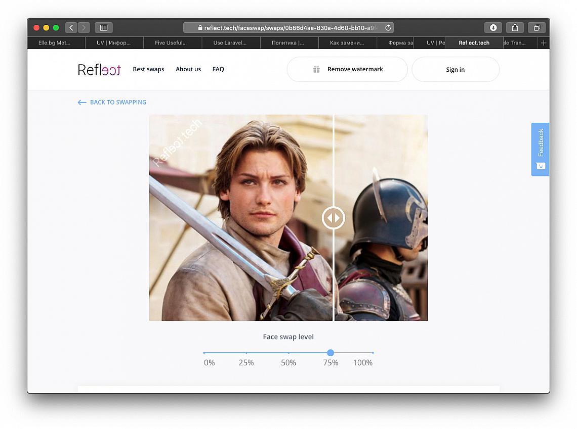 Резултатът от замяната на лице с reflect.tech