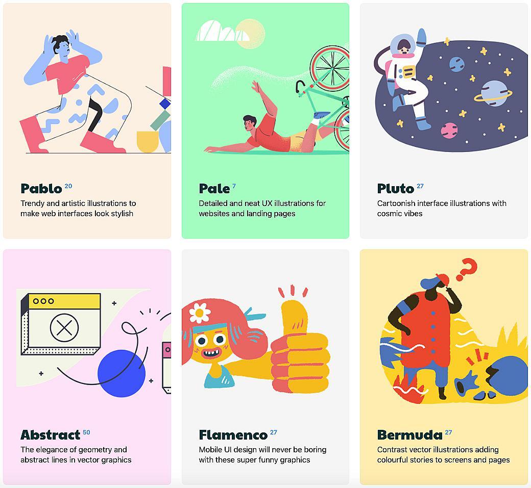 Векторни илюстрации в различни стилове