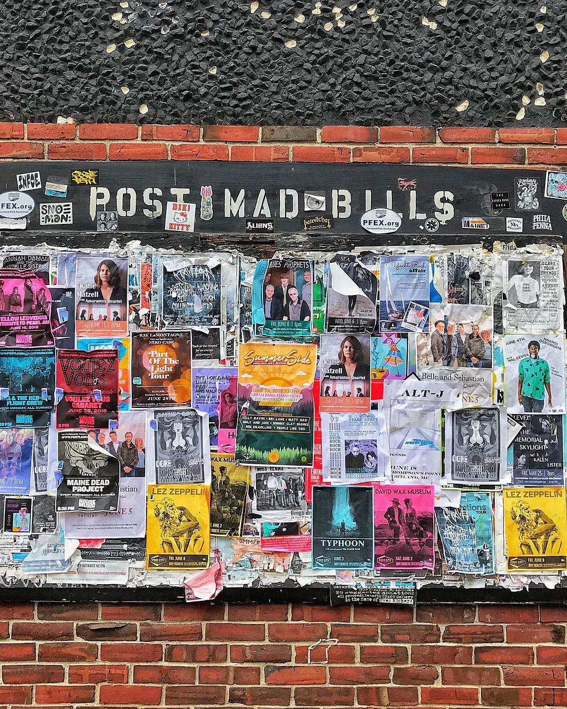 Post Mad Bills show board in Portland, Maine.