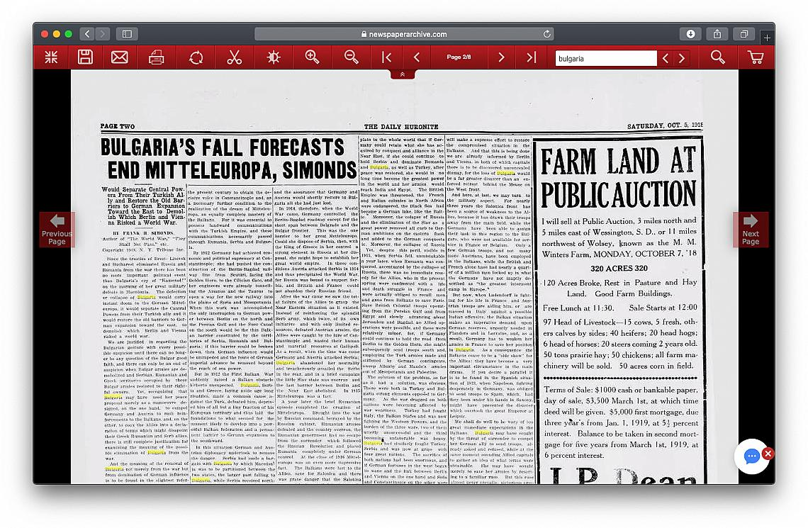 Huron Daily Huronite пише за България през 1918 г.