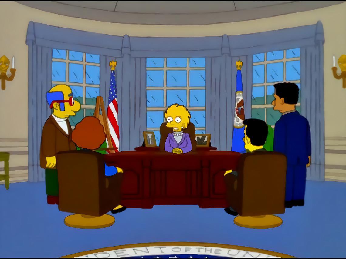 """<p>""""Както знаете, ние наследихме от президента Тръмп доста сериозна бюджетна криза."""", кадър от епизод 7 на сезон 11 от """"Семейство Симпсън""""</p>"""